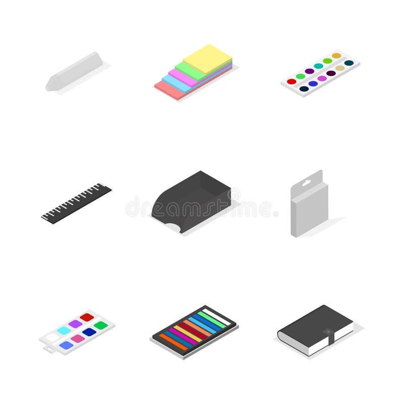 Sistema de iconos, de la oficina y de la escuela 3D estilo isom?trico plano, ejemplo del vector stock de ilustración