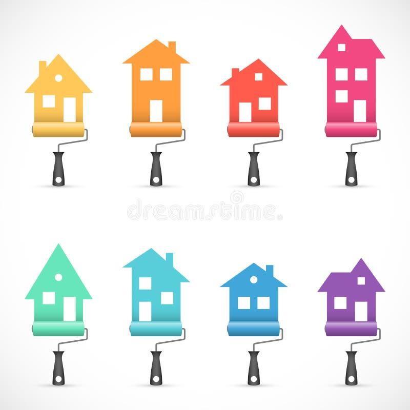 Sistema de iconos de la renovación de la casa La pintura mantiene iconos libre illustration