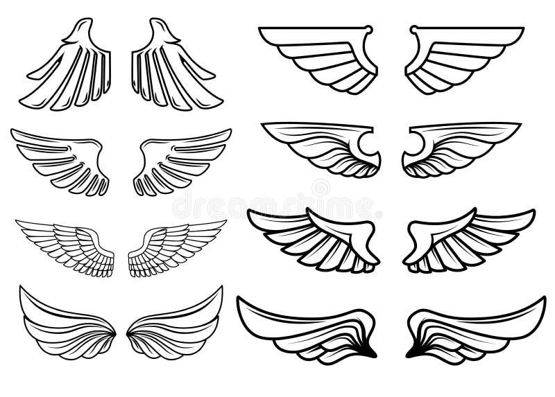 Sistema de iconos de las alas Diseñe los elementos para el logotipo, etiqueta, emblema, muestra stock de ilustración
