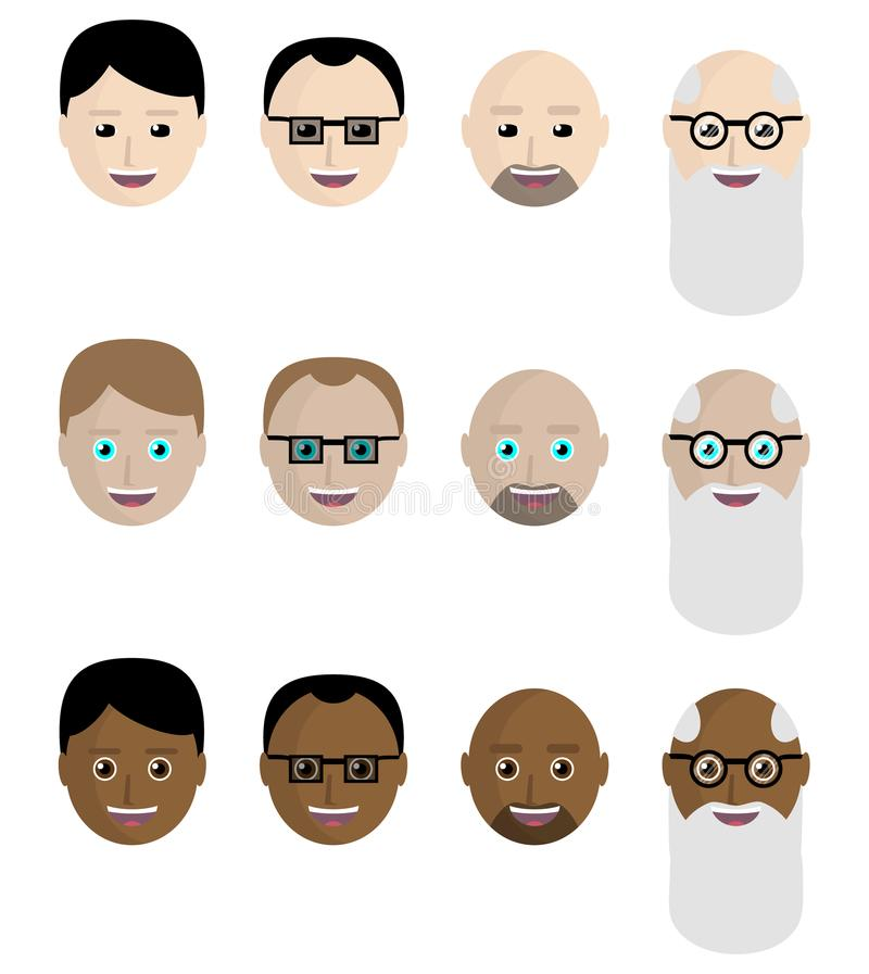 Sistema de iconos, las caras de los asiáticos, europeos, africanos Estilo plano libre illustration