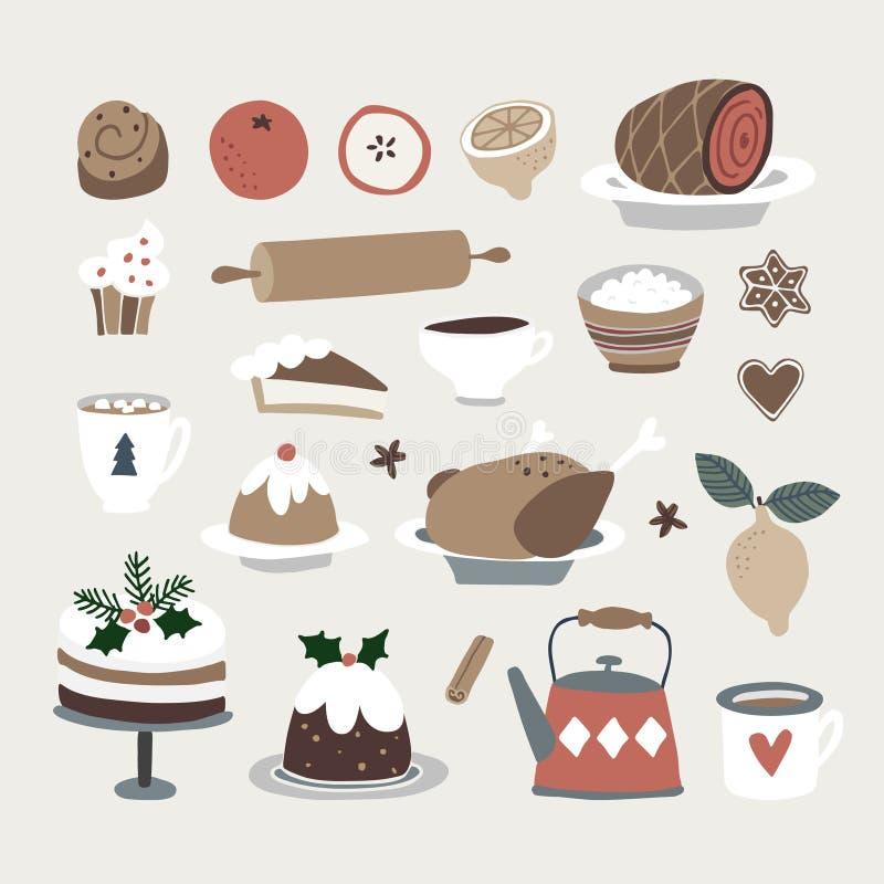Sistema de iconos lindos de la comida y de la bebida de la Navidad Pavo asado, torta de la Navidad, bollo de canela, café, gallet stock de ilustración