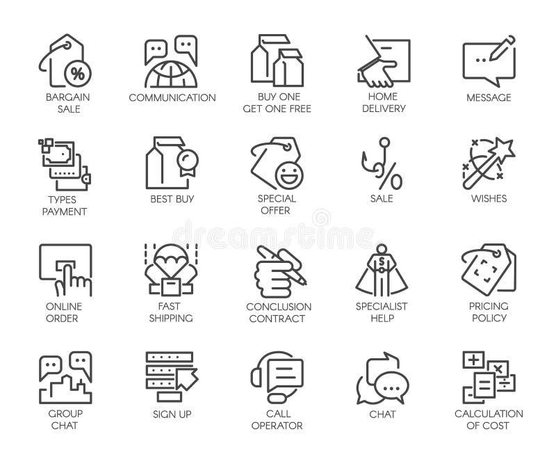 Sistema de 20 iconos lineares aislados en tema del márketing, del comercio y del negocio Logotipo o botón gráfico del contorno ilustración del vector