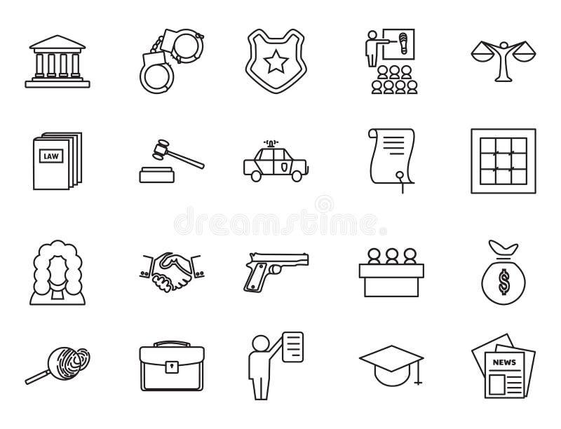 Sistema de iconos lineares blancos y negros de la ley y de la justicia ilustración del vector