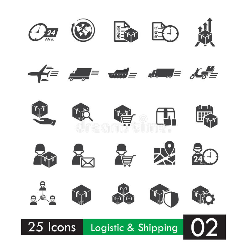 Sistema de 25 iconos logísticos 002 del transporte del envío stock de ilustración