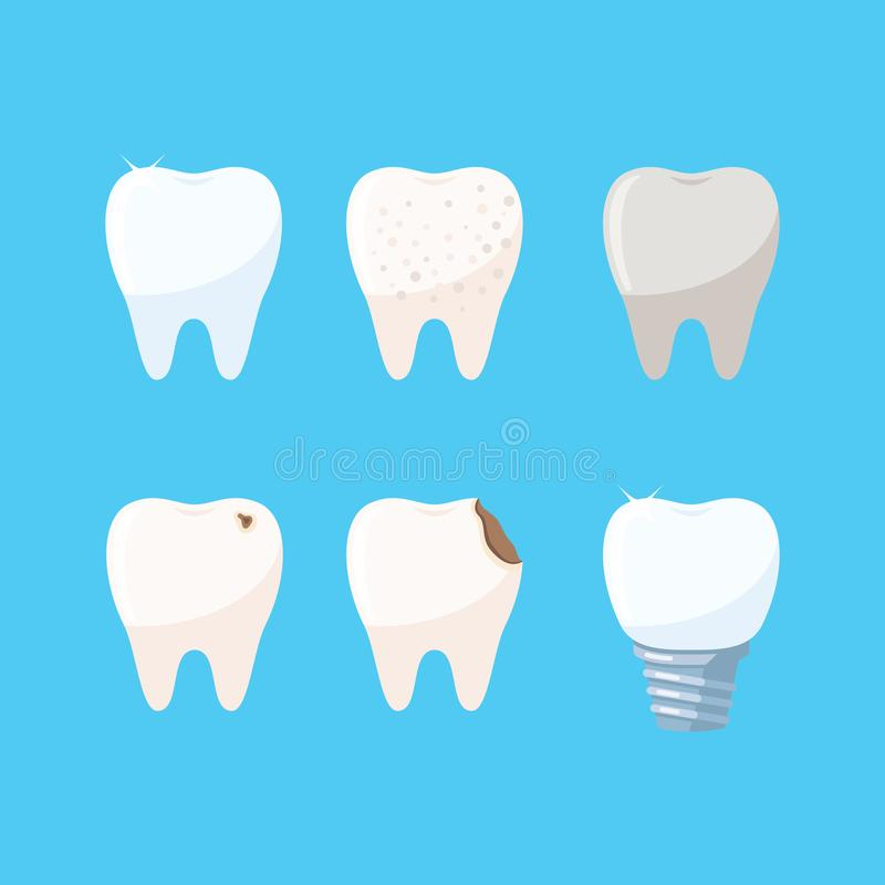 Sistema de iconos de los dientes fotos de archivo