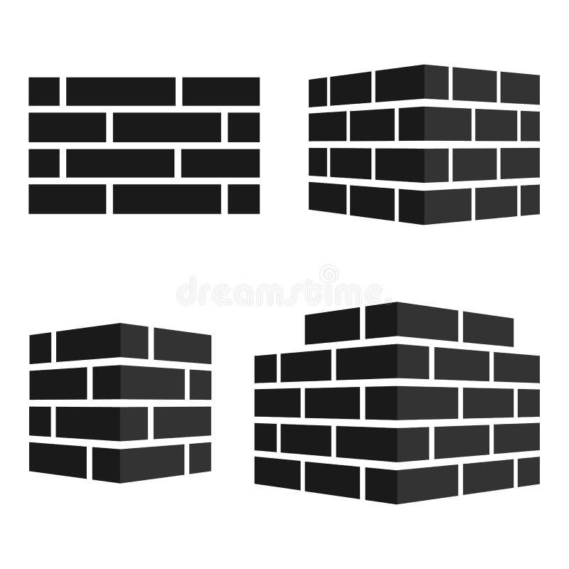 Sistema de iconos de los ladrillos Logotipo de los ladrillos Aislado en el fondo blanco Ilustración del vector libre illustration