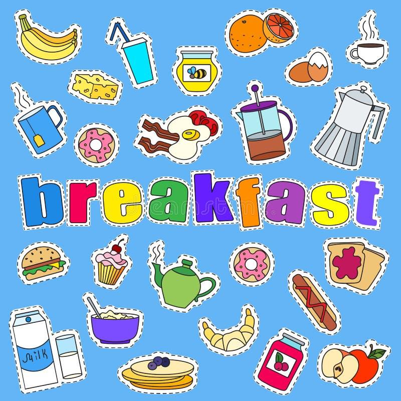 Sistema de iconos de los remiendos a propósito del desayuno y de la comida, remiendos simples de los iconos en un fondo azul stock de ilustración