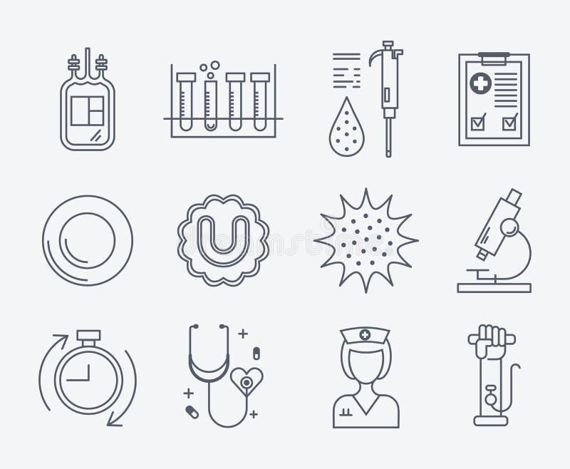 Sistema de iconos médicos - donación de sangre stock de ilustración