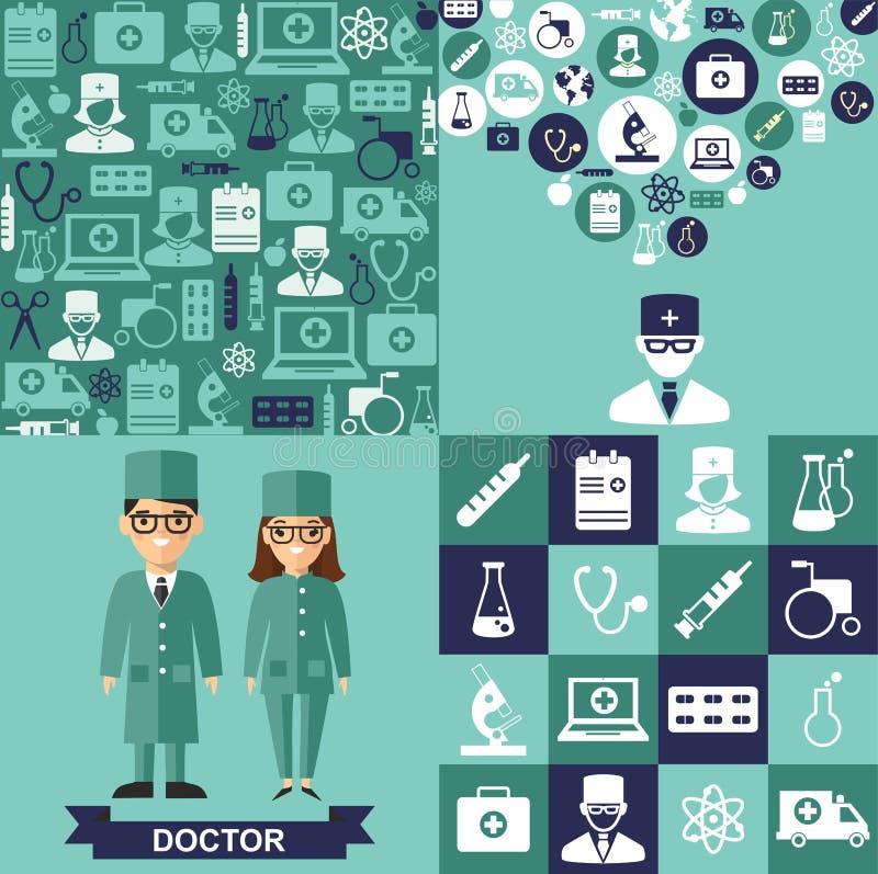 Sistema de iconos médicos, fondo inconsútil, gente médica en estilo plano ilustración del vector