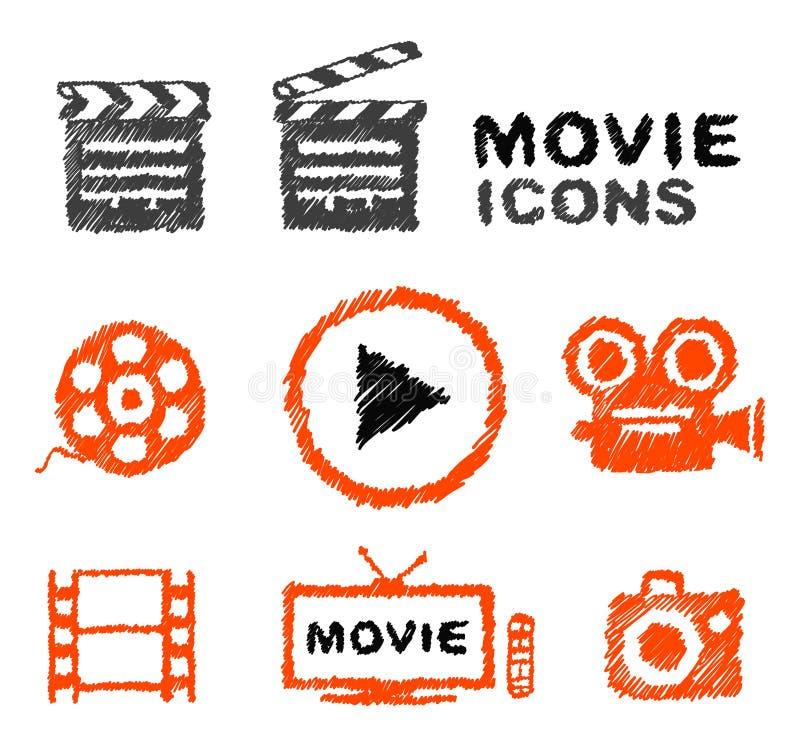 Sistema de iconos a mano de la película del vector ilustración del vector