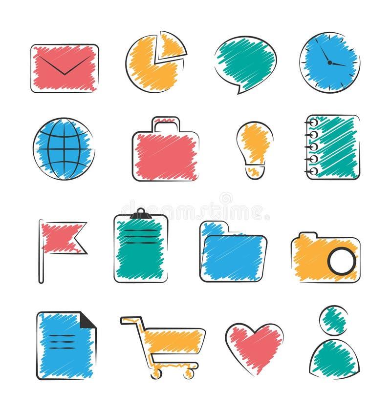 Sistema de iconos a mano planos de la oficina de negocios aislados en blanco stock de ilustración