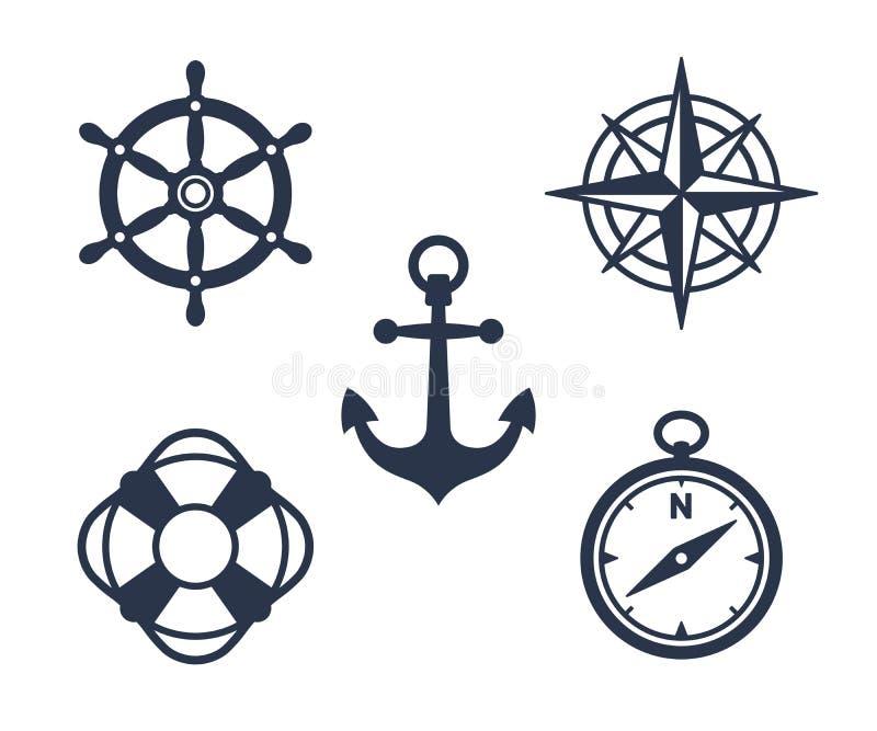 Sistema de iconos marinos, marítimos o náuticos stock de ilustración