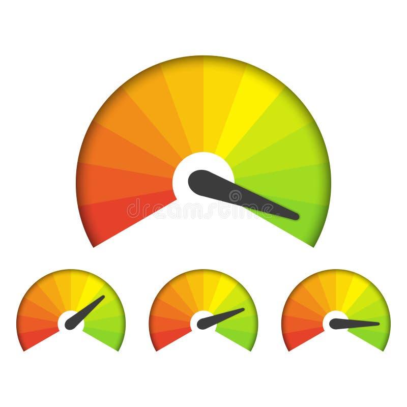 Sistema de iconos de medición en un fondo blanco Iconos del velocímetro fijados ilustración del vector
