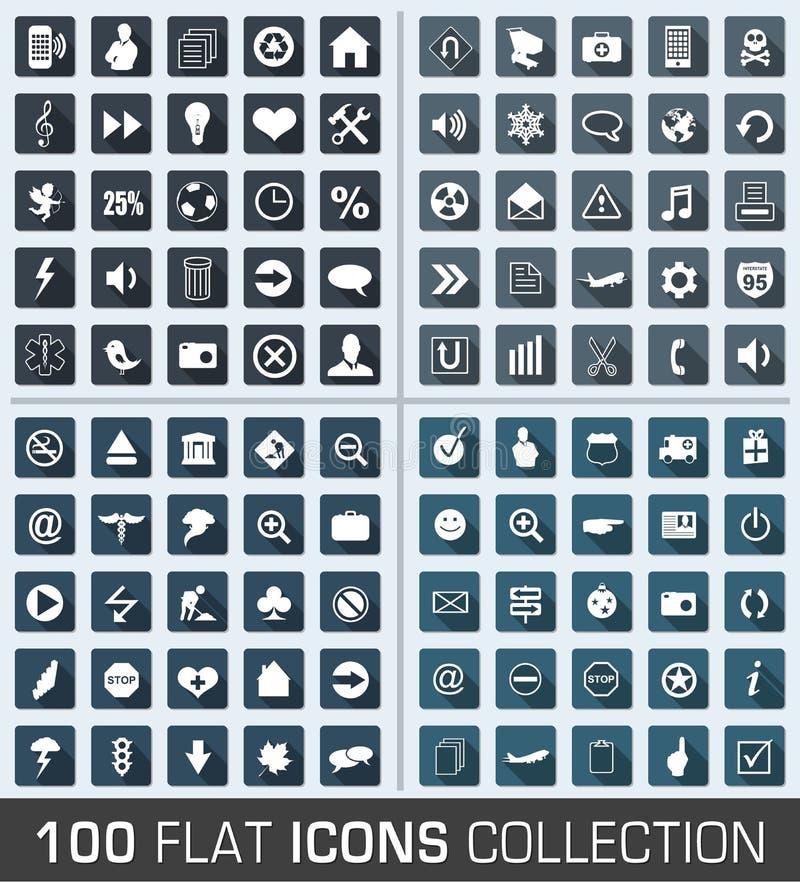 Download Sistema De 100 Iconos Modernos Del Plano Universal Ilustración del Vector - Ilustración de ilustración, internet: 41915146