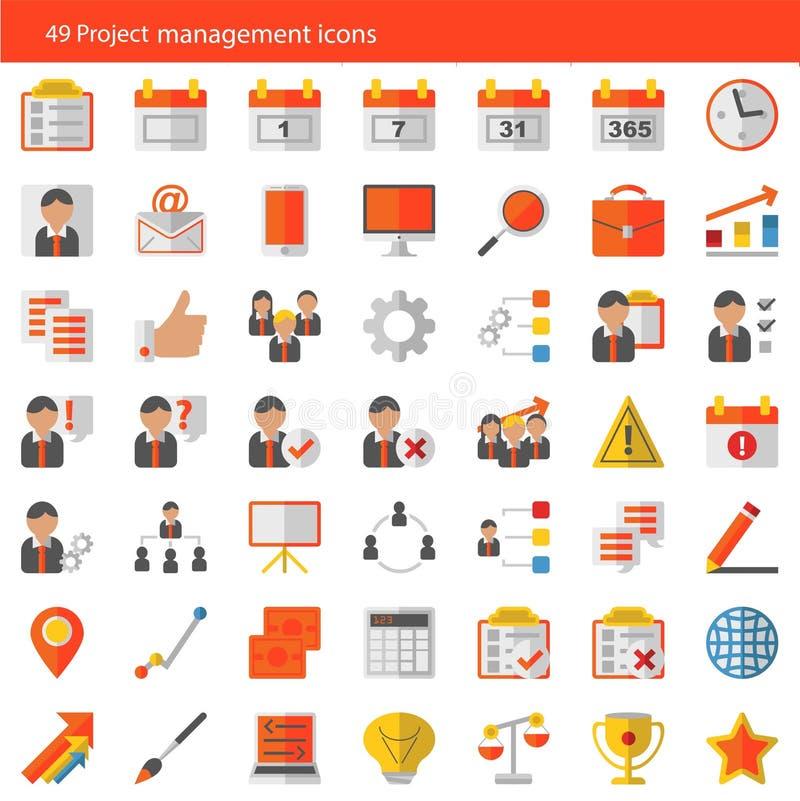 Sistema de 49 iconos modernos del vector de la gestión del proyecto stock de ilustración