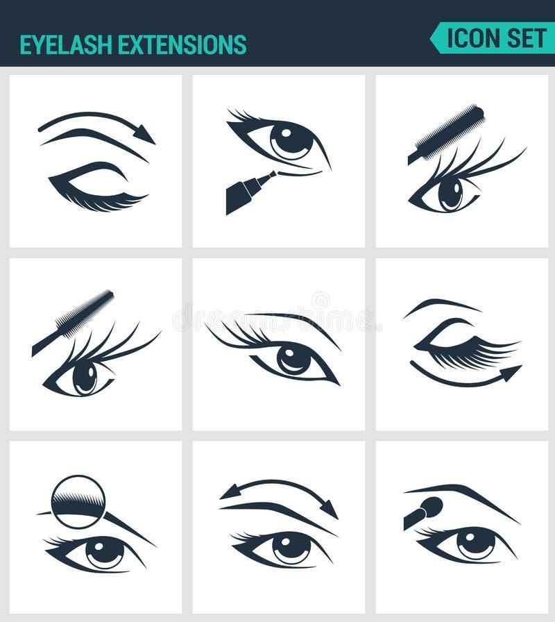 Sistema de iconos modernos Pestañas de las extensiones de la pestaña, ojos, rimel, sombra de ojos, ceja, lápiz de ojos, aumento M ilustración del vector