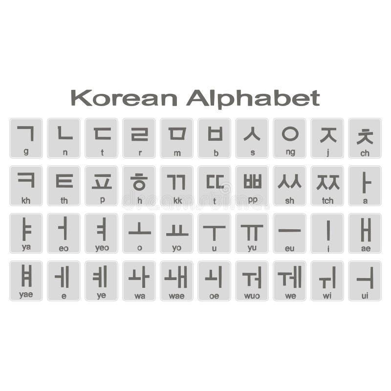 Sistema de iconos monocromáticos con alfabeto coreano libre illustration