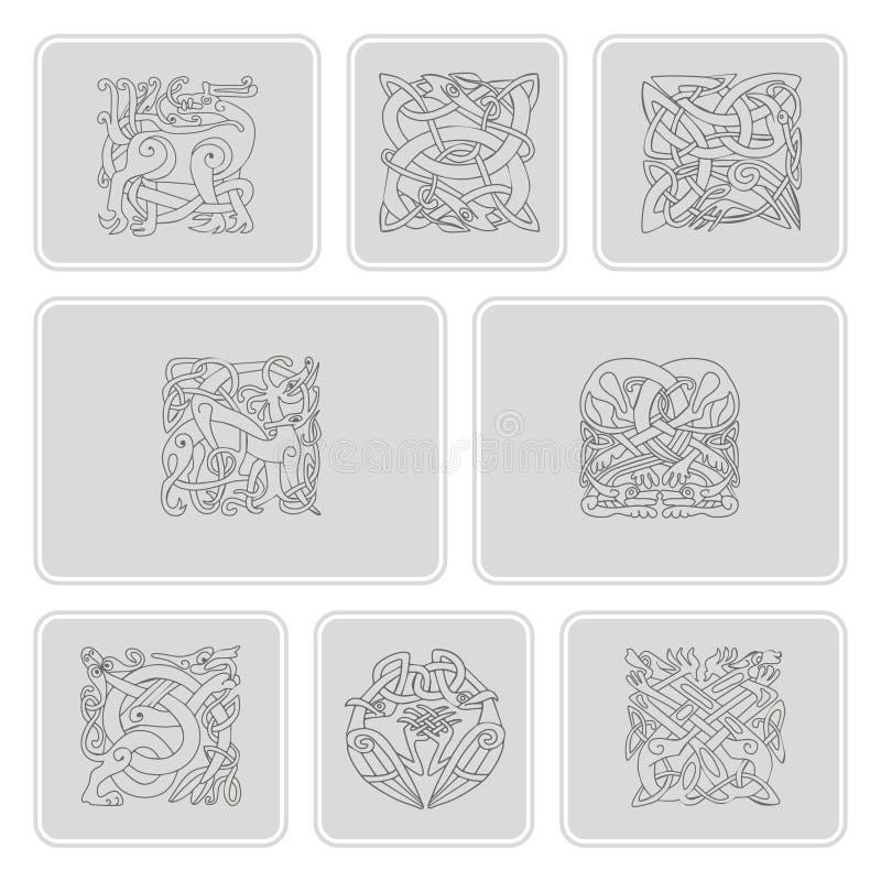 Sistema de iconos monocromáticos con arte céltico y ornamentos étnicos libre illustration