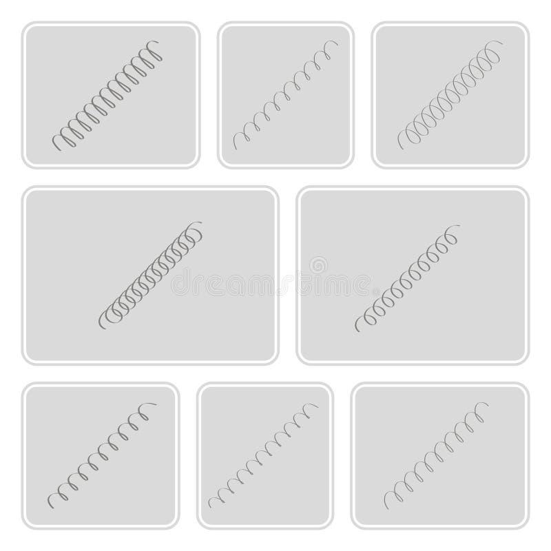 Sistema de iconos monocromáticos con las primaveras ilustración del vector