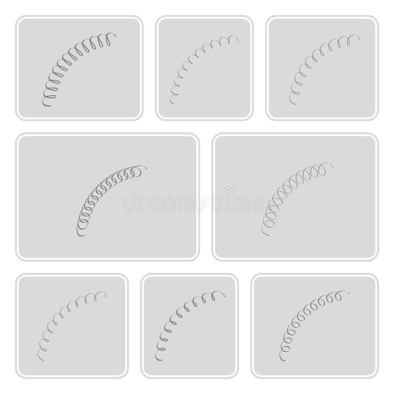 Sistema de iconos monocromáticos con las primaveras libre illustration