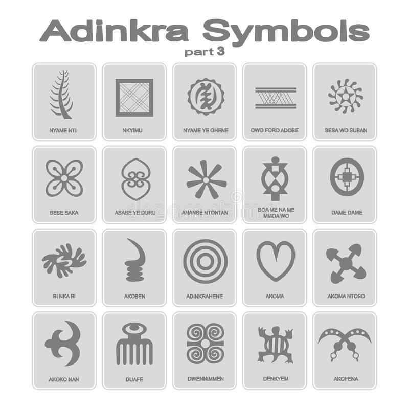 Sistema de iconos monocromáticos con símbolos del adinkra stock de ilustración