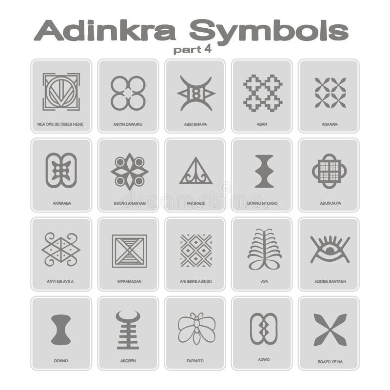 Sistema de iconos monocromáticos con símbolos del adinkra ilustración del vector