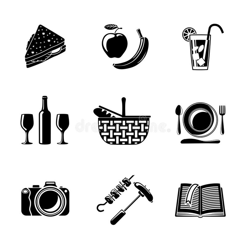 Sistema de iconos monocromáticos de la comida campestre - cesta, placa ilustración del vector