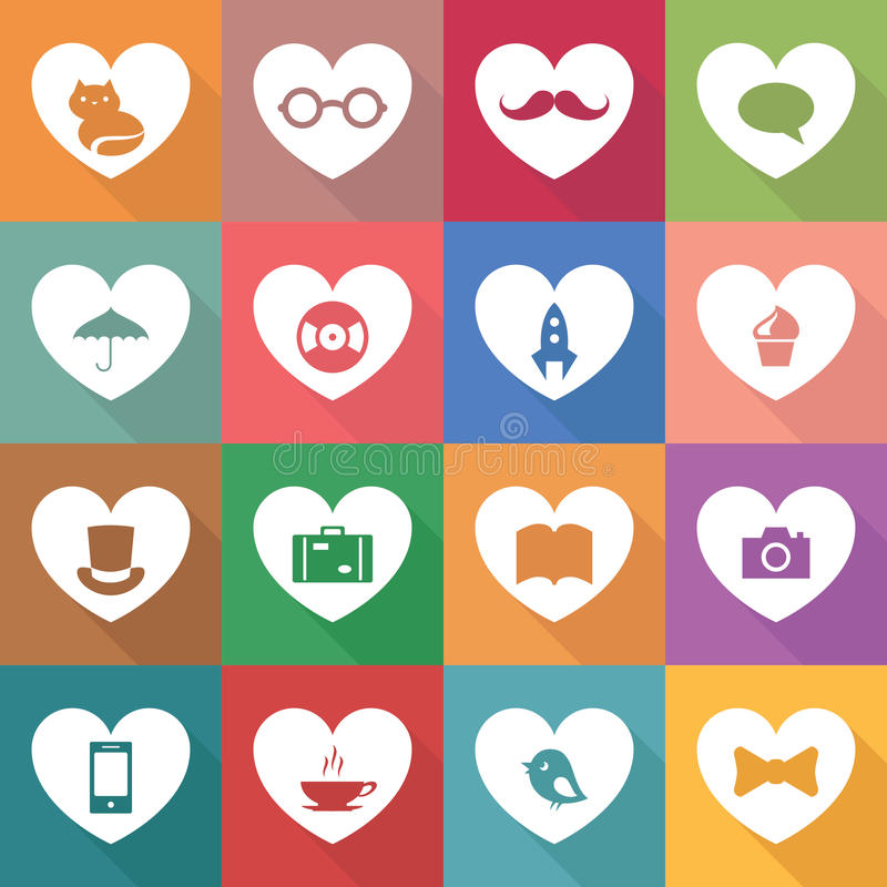Sistema de iconos multicolores stock de ilustración