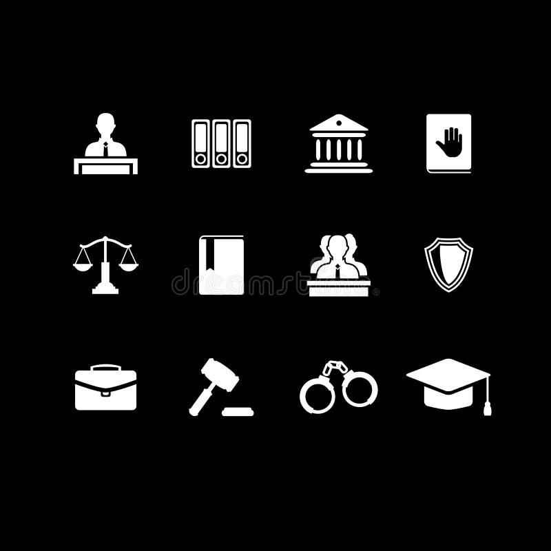 Sistema de iconos negros de la ley y de la justicia libre illustration