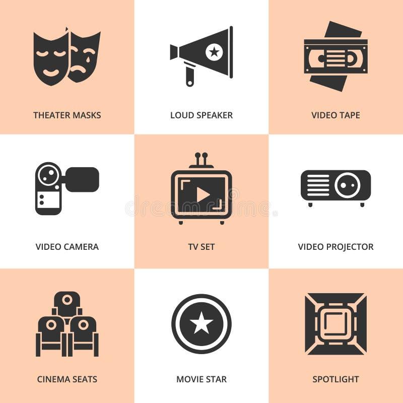 Sistema de iconos negros de la película del cine stock de ilustración