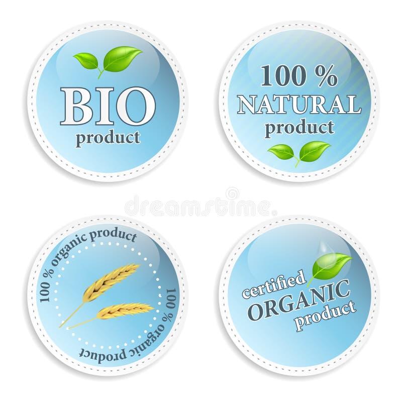 Sistema de iconos o de etiquetas naturales azules stock de ilustración