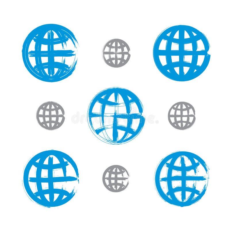 Sistema de iconos pintados a mano del globo de la tierra aislados en el backgrou blanco libre illustration