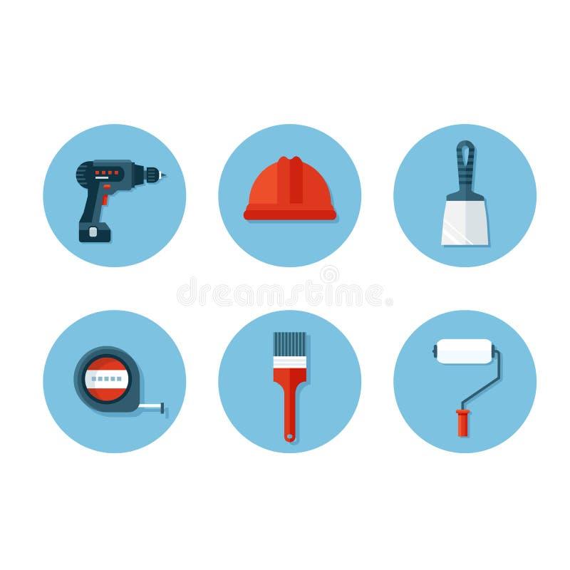 Sistema de iconos planos con las herramientas de la construcción ilustración del vector