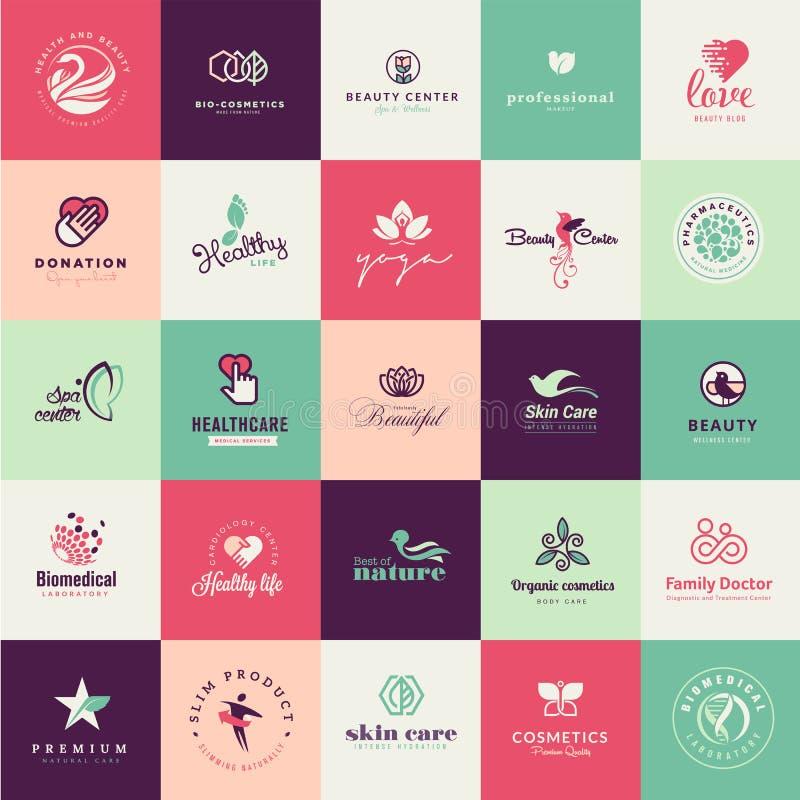 Sistema de iconos planos de la belleza del diseño stock de ilustración