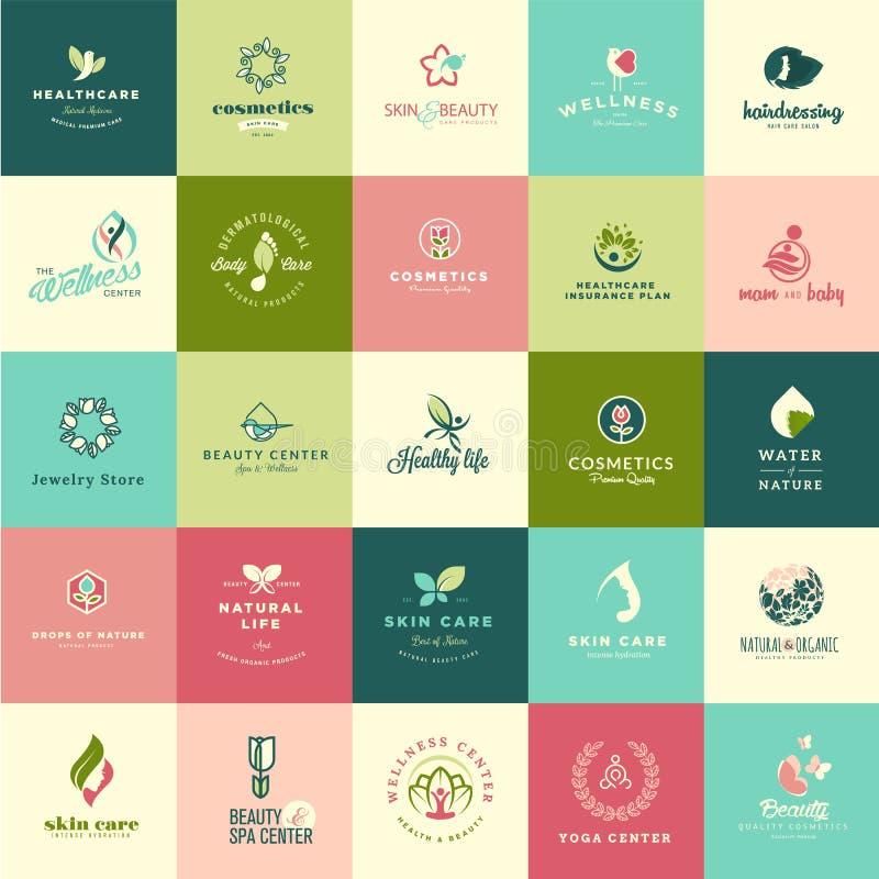Sistema de iconos planos de la belleza y de la naturaleza del diseño stock de ilustración