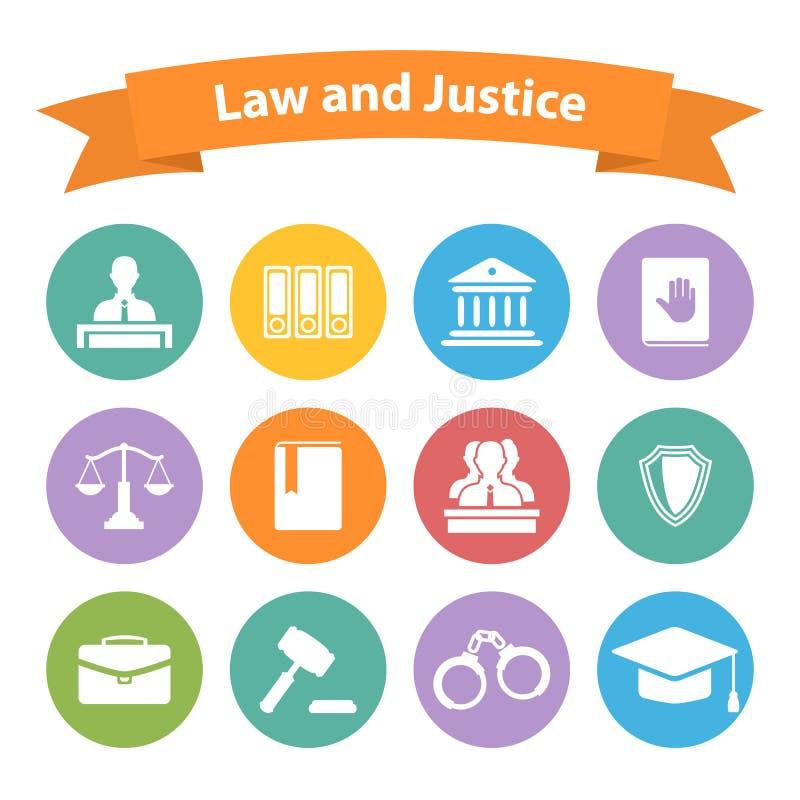 Sistema de iconos planos de la ley y de la justicia ilustración del vector
