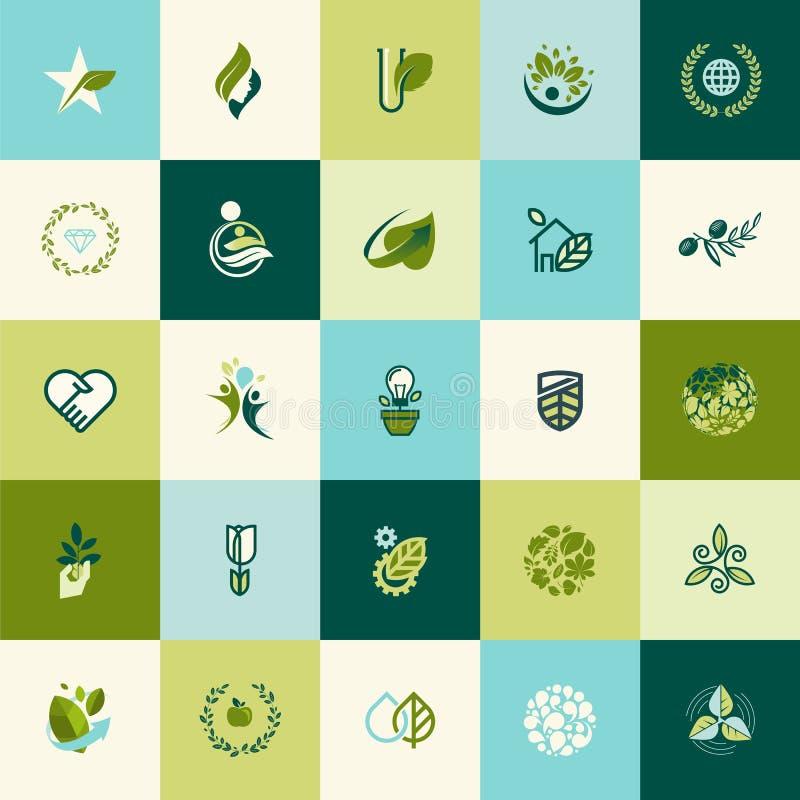 Sistema de iconos planos de la naturaleza del diseño ilustración del vector