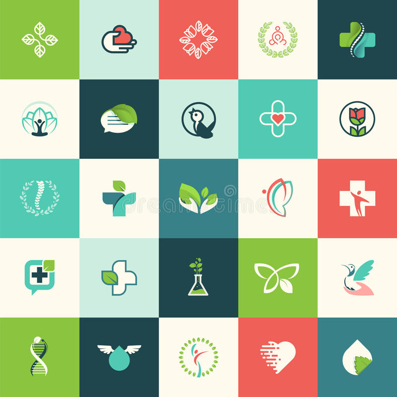 Sistema de iconos planos de la naturaleza y de la belleza del diseño stock de ilustración