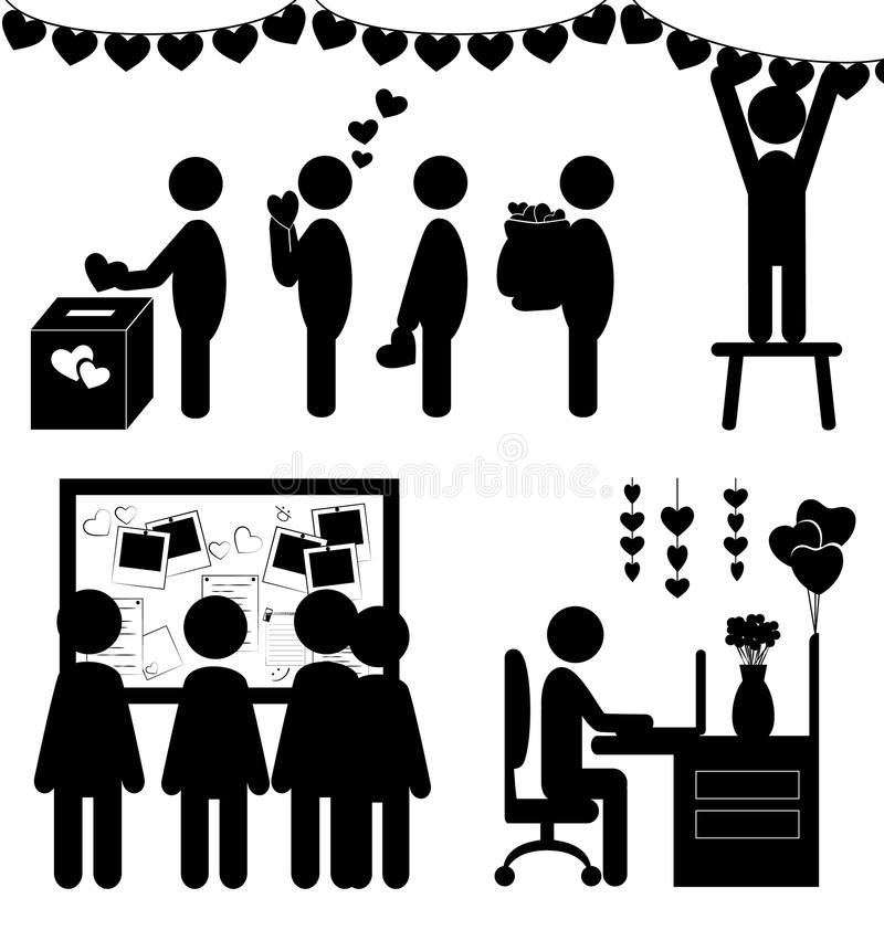 Sistema de iconos planos de la oficina del día del ` s de la tarjeta del día de San Valentín aislados en blanco libre illustration