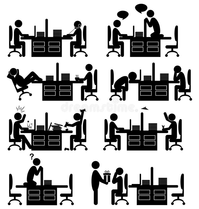 Sistema de iconos planos de la situación de la oficina aislados en blanco libre illustration