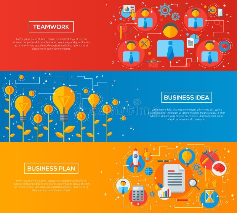 Sistema de iconos planos de las banderas horizontales del negocio libre illustration