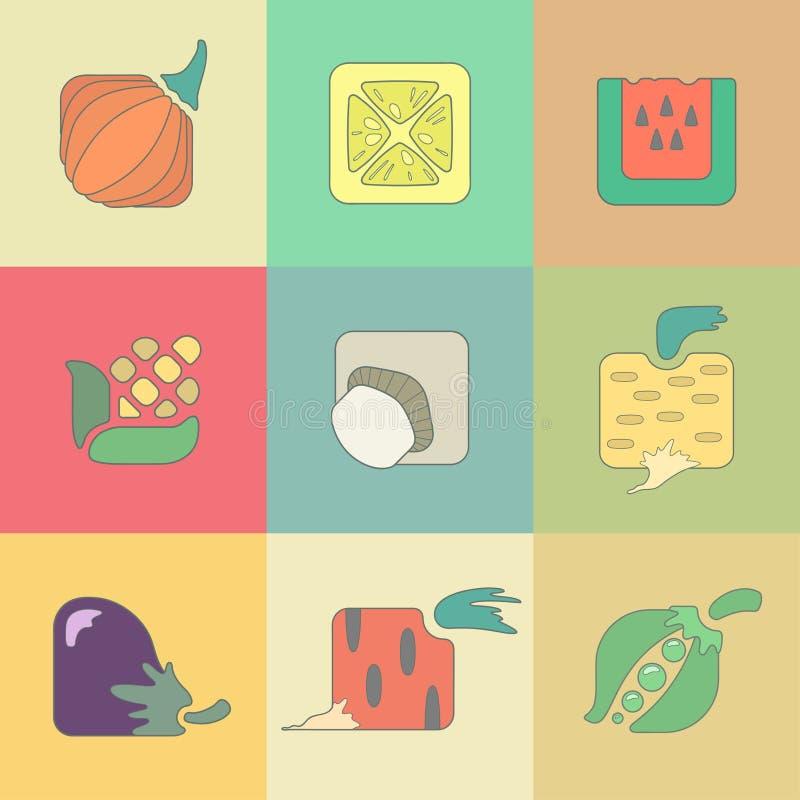 Sistema de iconos planos de las verduras estilizadas encendido libre illustration