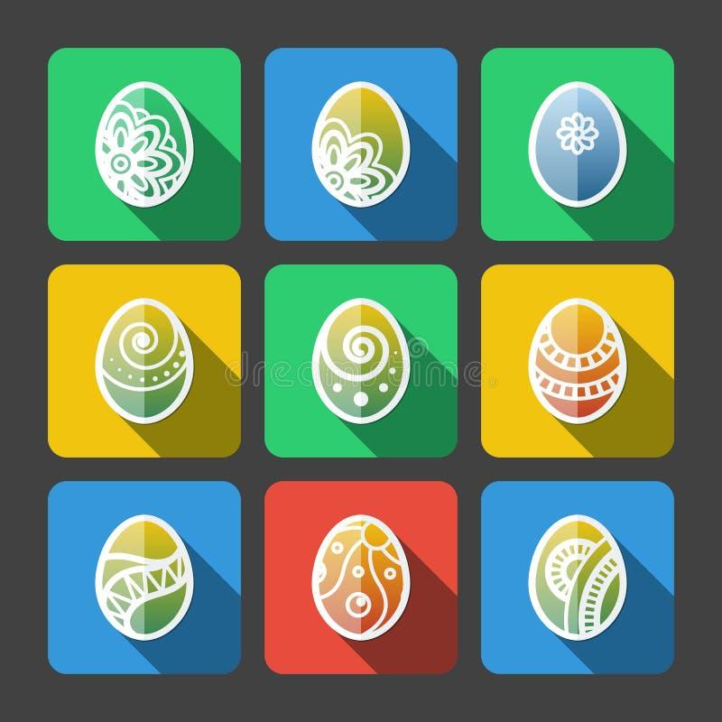 Sistema de iconos planos de los huevos de Pascua libre illustration