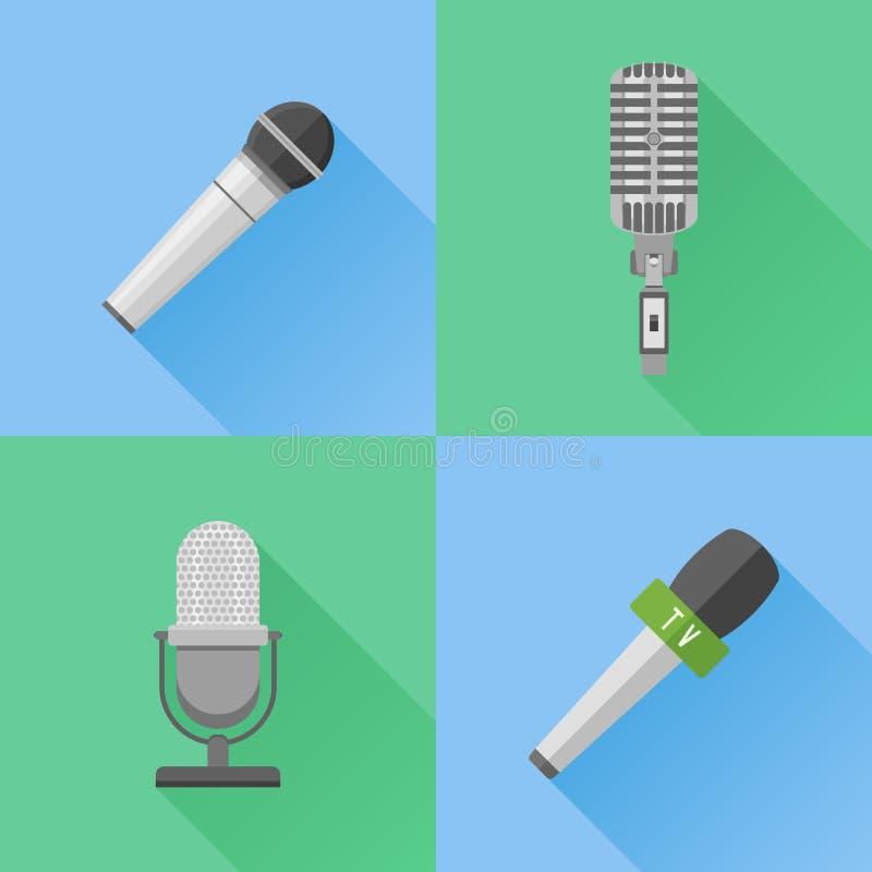 Sistema de iconos planos de los micrófonos modernos y retros ilustración del vector