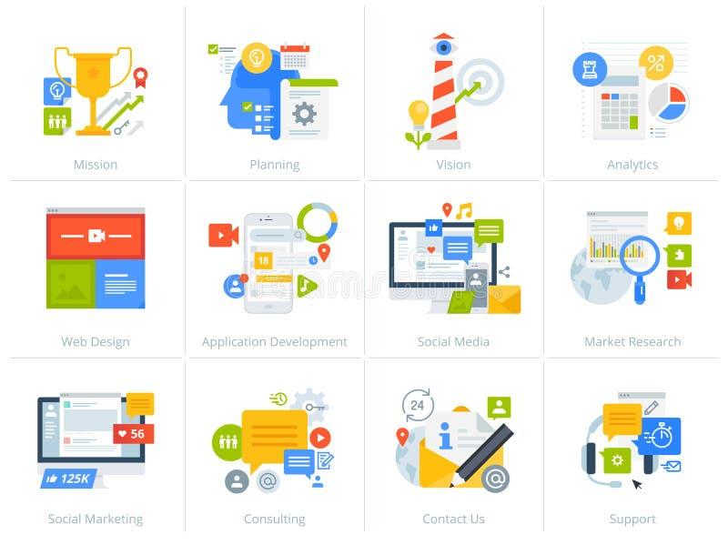 Sistema de iconos planos del concepto del estilo del diseño aislados en blanco libre illustration