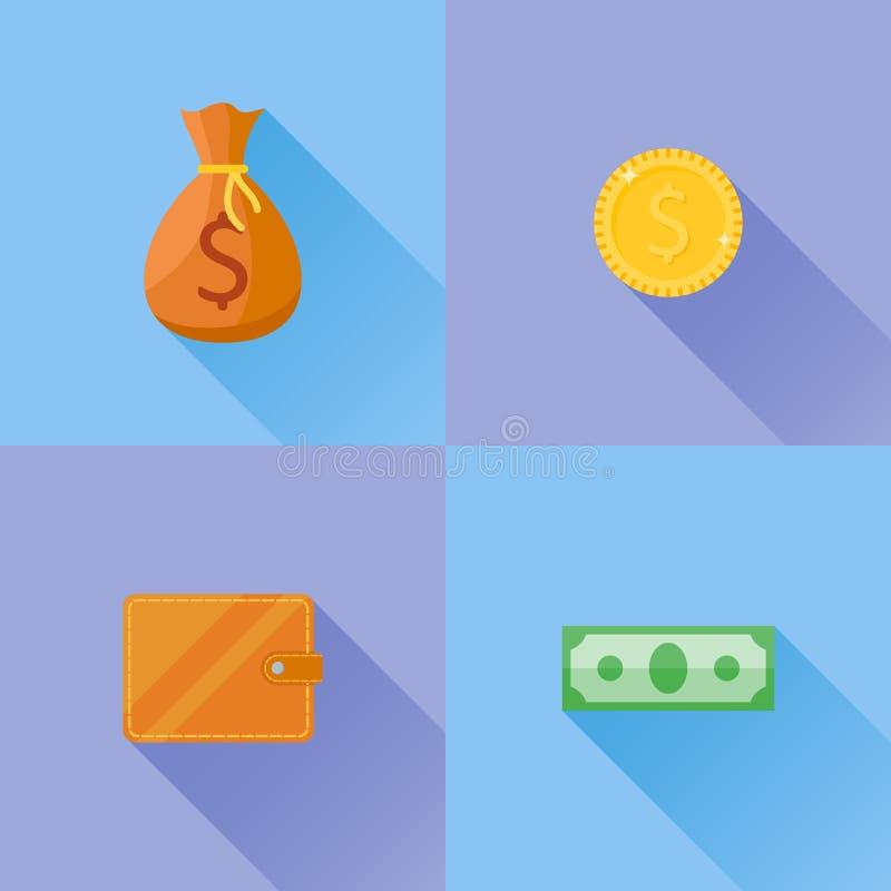 Sistema de iconos planos del dinero Billete de banco, moneda de oro, bolso del dinero y cartera stock de ilustración