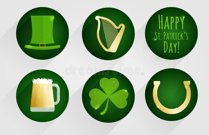 Sistema de iconos planos del diseño para el día del ` s de St Patrick, aislados en fondo redondo verde oscuro imagen de archivo