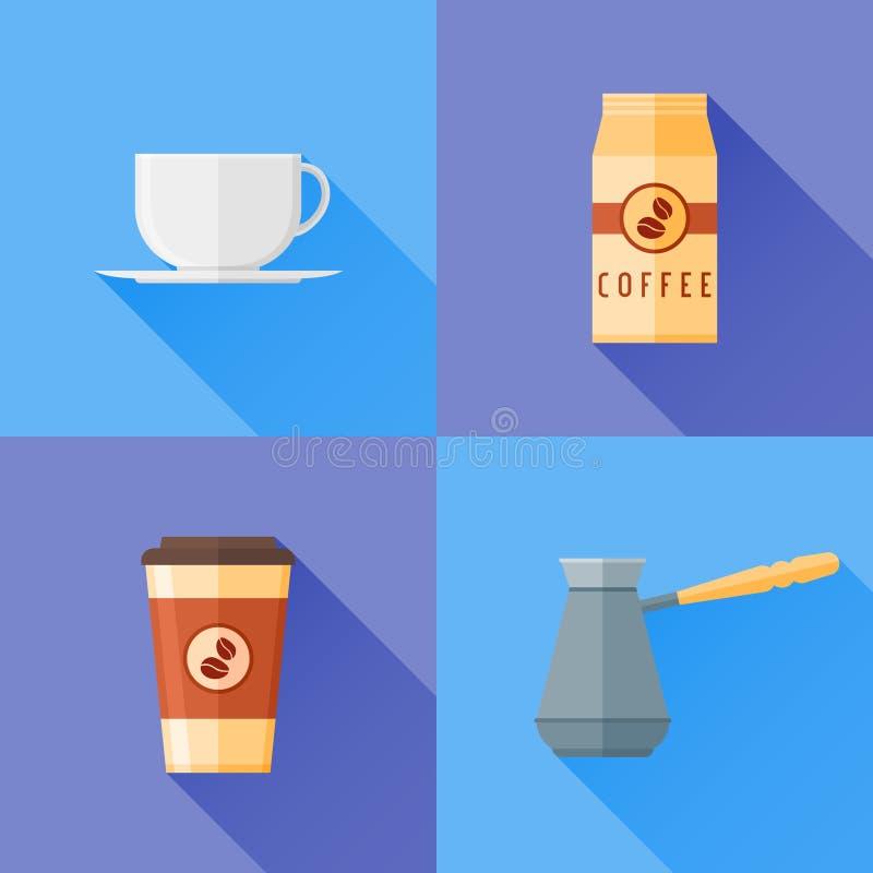 Sistema de iconos planos del estilo del café Taza, pote y empaquetado de café stock de ilustración