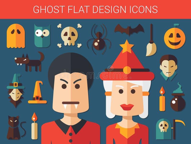 Sistema de iconos planos del fantasma del diseño stock de ilustración
