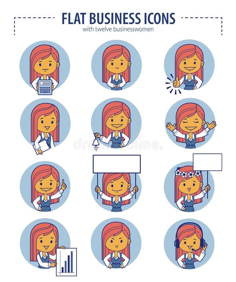 Sistema de iconos planos del negocio con las empresarias stock de ilustración